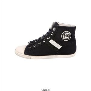 Chanel black canvas high top sneakers logo